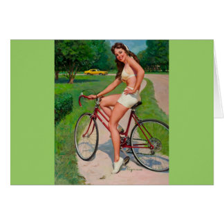 Vintage Gil Elvgren Bicycle Cyclist Pin up Girl Card