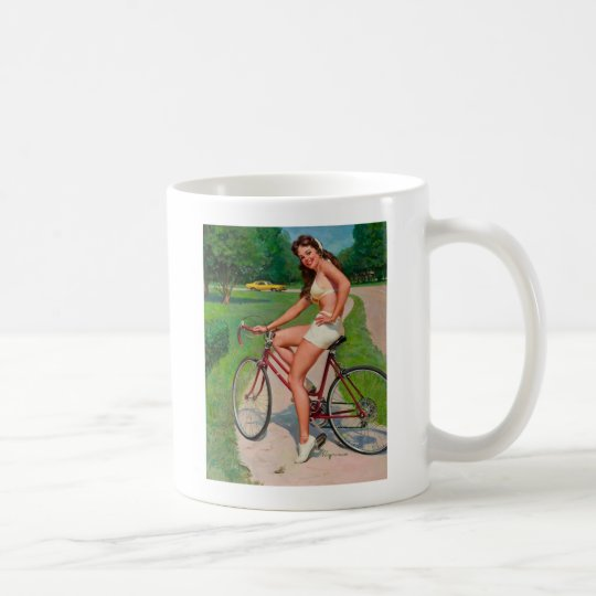 Vintage Gil Elvgren Bicycle Cyclist Pin up Girl Coffee Mug