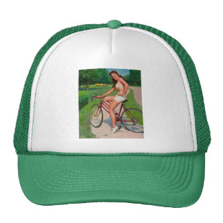 Vintage Gil Elvgren Bicycle Cyclist Pin up Girl Trucker Hat