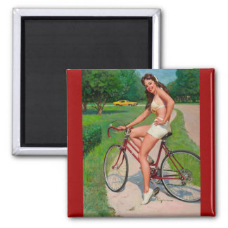 Vintage Gil Elvgren Bicycle Cyclist Pin up Girl Magnet