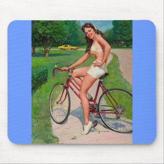 Vintage Gil Elvgren Bicycle Cyclist Pin up Girl Mouse Pad