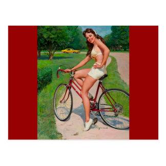 Vintage Gil Elvgren Bicycle Cyclist Pin up Girl Postcard