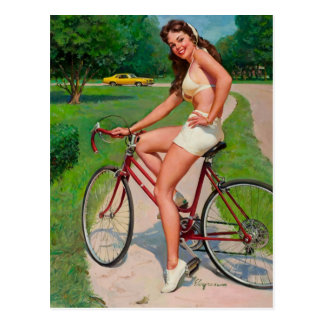 Vintage Gil Elvgren Bicycle Cyclist Pin up Girl Post Card
