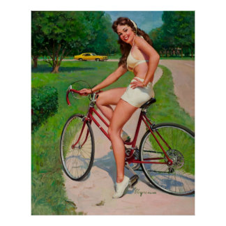 Vintage Gil Elvgren Bicycle Cyclist Pin up Girl Poster