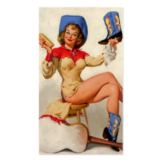 Vintage Gil Elvgren Boot Shine Country Pin UP Girl Business Card