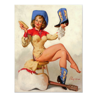 Vintage Gil Elvgren Boot Shine Country Pin UP Girl Card