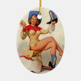 Vintage Gil Elvgren Boot Shine Country Pin UP Girl Ceramic Ornament