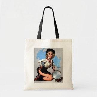 Vintage Gil Elvgren Camp Fire  Western Pin up girl Bag