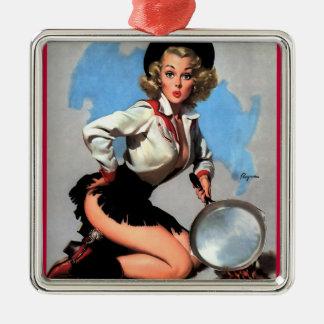 Vintage Gil Elvgren Camp Fire  Western Pin up girl Metal Ornament