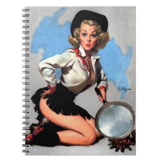 Vintage Gil Elvgren Camp Fire  Western Pin up girl Notebook