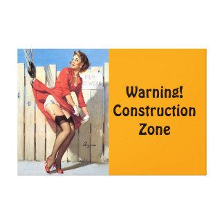 Vintage Gil Elvgren Construction Zone Pinup girl Canvas Print