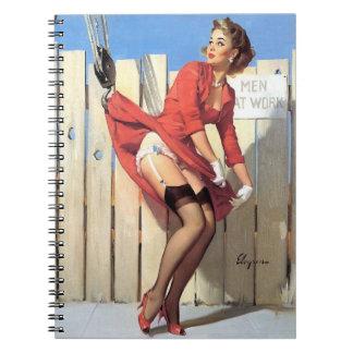 Vintage Gil Elvgren Construction Zone Pinup girl Notebook