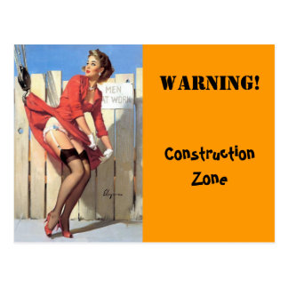 Vintage Gil Elvgren Construction Zone Pinup girl Postcard