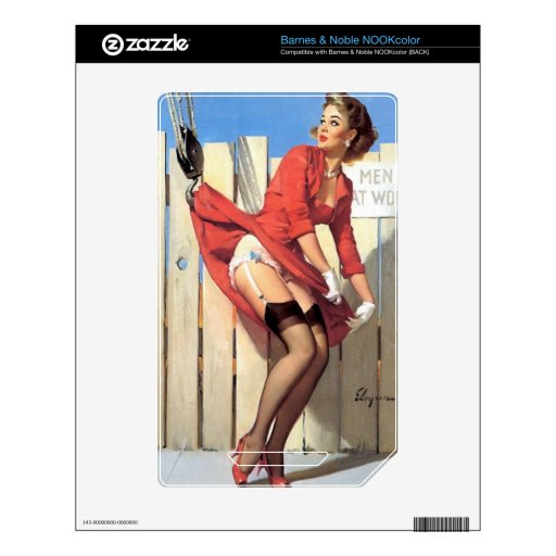 Vintage Gil Elvgren Construction Zone Pinup girl Decals For The NOOK Color