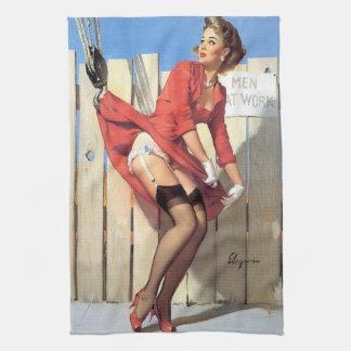 Vintage Gil Elvgren Construction Zone Pinup girl Towel