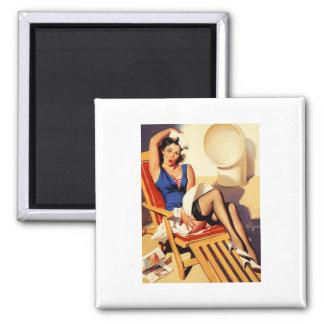 Vintage Gil Elvgren Cruise Ship Pinup Girl 2 Inch Square Magnet