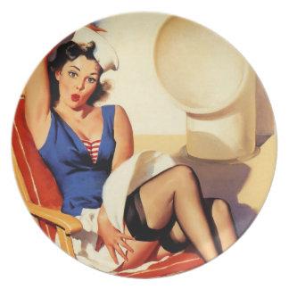 Vintage Gil Elvgren Cruise Ship Pinup Girl Dinner Plate