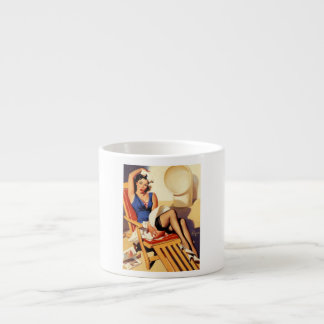Vintage Gil Elvgren Cruise Ship Pinup Girl Espresso Cup