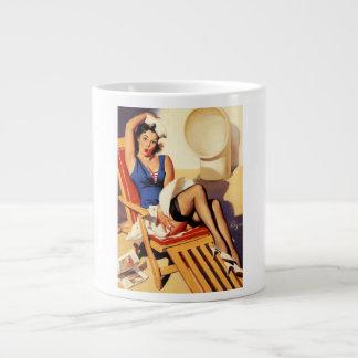 Vintage Gil Elvgren Cruise Ship Pinup Girl Large Coffee Mug