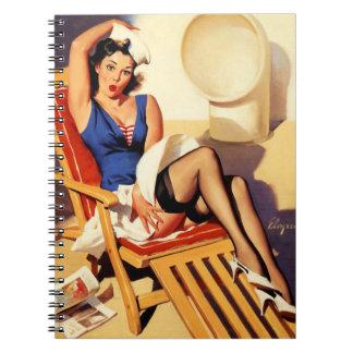 Vintage Gil Elvgren Cruise Ship Pinup Girl Notebook