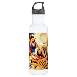 Vintage Gil Elvgren Cruise Ship Pinup Girl Water Bottle