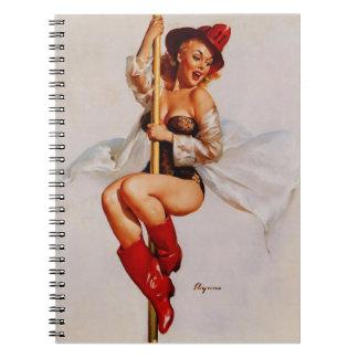 Vintage Gil Elvgren Firefighter Pin Up Girl Notebook
