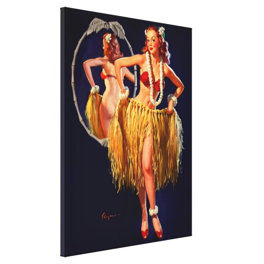 Vintage Gil Elvgren Hula Hawaiian Pin UP Girl Canvas Print