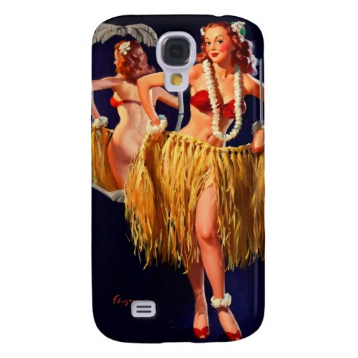 Vintage Gil Elvgren Hula Hawaiian Pin UP Girl Samsung Galaxy S4 Cases