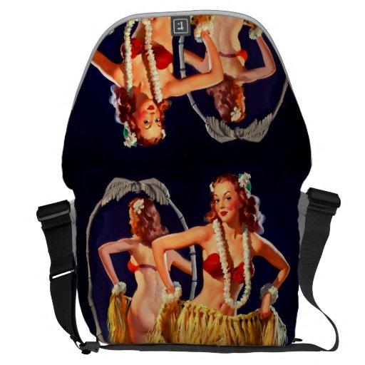 Vintage Gil Elvgren Hula Hawaiian Pin UP Girl Courier Bags
