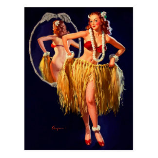 Vintage Gil Elvgren Hula Hawaiian Pin UP Girl Postcard