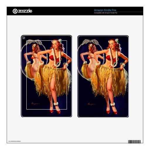 Vintage Gil Elvgren Hula Hawaiian Pin UP Girl Skin For Kindle Fire