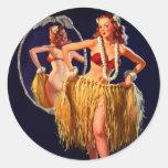 Vintage Gil Elvgren Hula Hawaiian Pin UP Girl Sticker