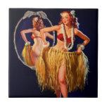 Vintage Gil Elvgren Hula Hawaiian Pin UP Girl Tiles