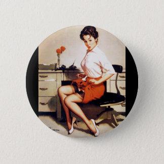 Vintage Gil Elvgren Office Corporate Pinup Girl Button
