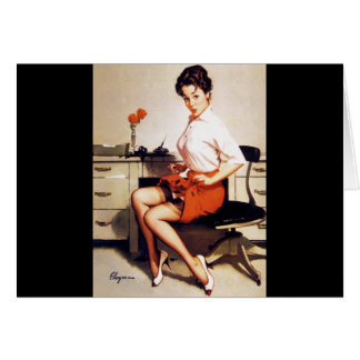 Vintage Gil Elvgren Office Corporate Pinup Girl Greeting Cards