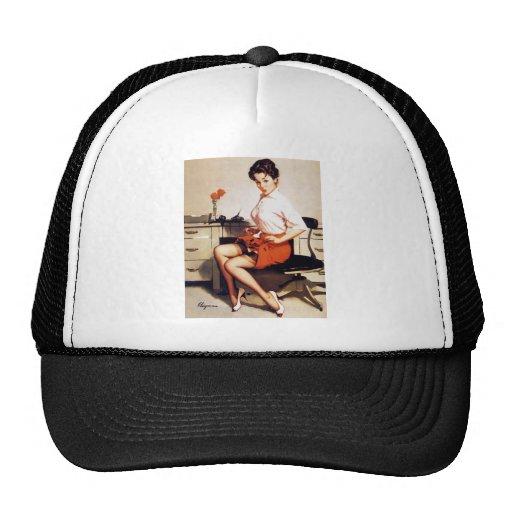 Vintage Gil Elvgren Office Corporate Pinup Girl Mesh Hat