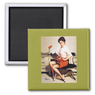 Vintage Gil Elvgren Office Corporate Pinup Girl 2 Inch Square Magnet