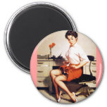 Vintage Gil Elvgren Office Corporate Pinup Girl Fridge Magnets