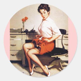 Vintage Gil Elvgren Office Corporate Pinup Girl Round Stickers