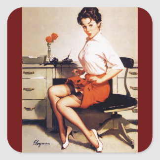 Vintage Gil Elvgren Office Corporate Pinup Girl Square Sticker