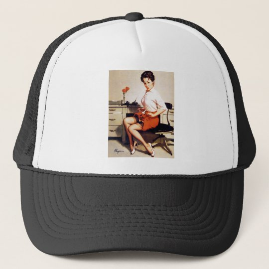 Vintage Gil Elvgren Office Corporate Pinup Girl Trucker Hat