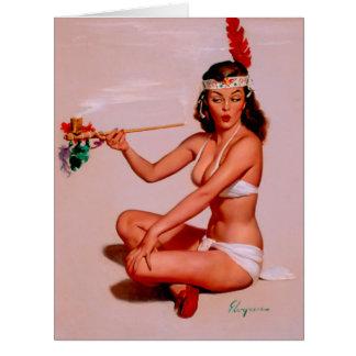 Vintage Gil Elvgren Pin Up Girl Smoking Peace Pipe Card
