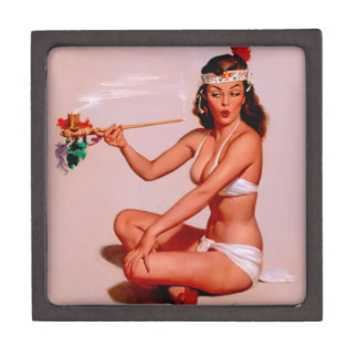 Vintage Gil Elvgren Pin Up Girl Smoking Peace Pipe Jewelry Box