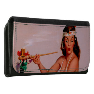 Vintage Gil Elvgren Pin Up Girl Smoking Peace Pipe Leather Wallet