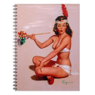 Vintage Gil Elvgren Pin Up Girl Smoking Peace Pipe Notebook