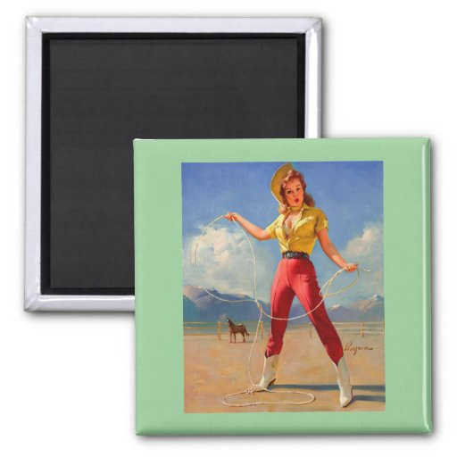 Vintage Gil Elvgren Ranch Western Pin up girl 2 Inch Square Magnet