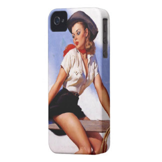 Vintage Gil Elvgren Ranch Western Pin up girl Case-Mate iPhone 4 Cases