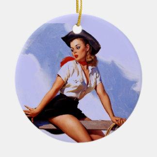 Vintage Gil Elvgren Ranch Western Pin up girl Ceramic Ornament