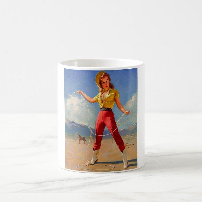 Vintage Gil Elvgren Ranch Western Pin up girl Coffee Mug