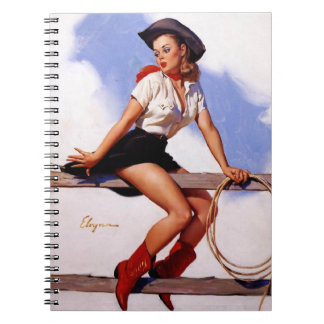 Vintage Gil Elvgren Ranch Western Pin up girl Notebook